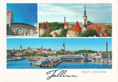 Old town and the harbor in Tallinn, Estonia.