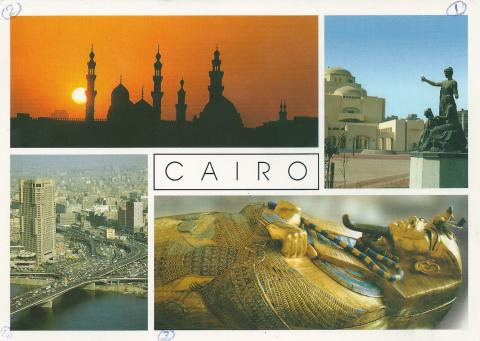 Four images of Cairo in Egypt. The opera house, sunset over a mosque, the mummy case of Tutankhamun, and traffic over 6th October bridge.