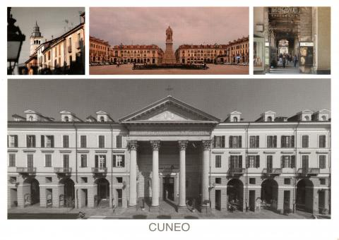 Four photos of Cuneo in Italy.