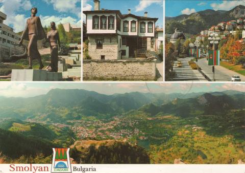 Four photos of Smolyan, Bulgaria. Statue of Orpheus and Eurydice, characteristic architecture from the Rhodope Mountain, the city center and a panorama photo of Smolyan.