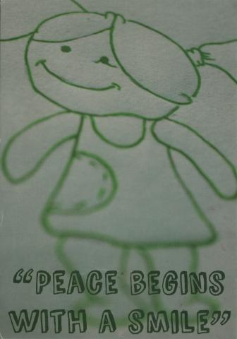 "Illustration of a girl smiling with the quote ""Peace begins with a smile"". Made by Lukas Amez"