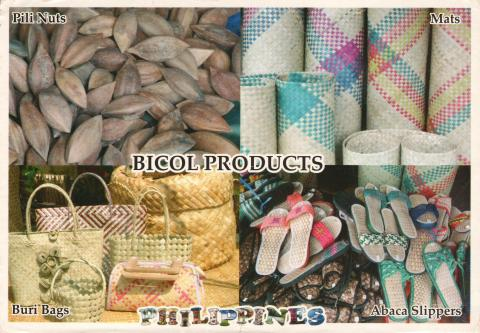Four images of products made by Bicol people in Philippines: Pili nuts, mats, buri palm bags and abaca slippers.